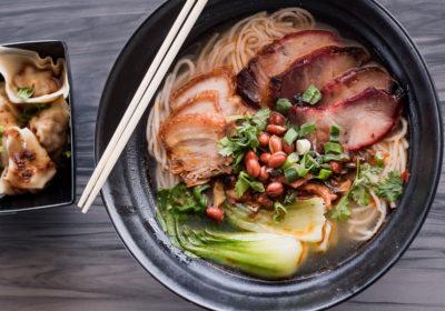 Chaoshou Dumplings and the Guilin Spicy & Sour noodle soup at Noodleholics (Credit: Jackie Tran)