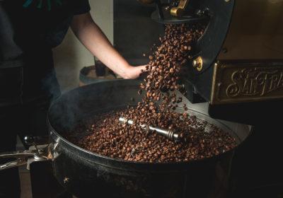 Coffee beans roasting at Yellow Brick Coffee (Credit: Jackie Tran)